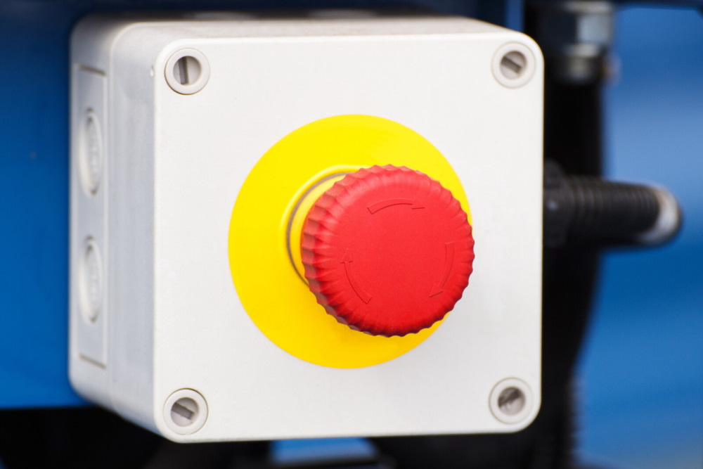 Emergency stop button yellow schield with no text